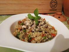 Ázsiai zöldségkeverék, bulgurral, fűszeres csirkemellel