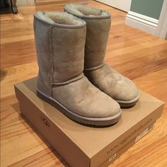 Classic short UGG boots Classic short UGG boots in sand color. Worn a couple of times. Has some normal wear and tear. Size 7. In decent condition. UGG Shoes