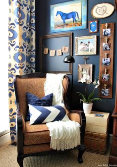 Blue & Brown reading nook via @ourfifthhouse