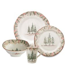 Arte Italica Natale Dinnerware - Jane Leslie and Co. Merry Little Christmas, All Things Christmas, Christmas Time, Rustic Dinnerware, Dinnerware Sets, Christmas China, Christmas Kitchen, Christmas Table Settings, Christmas Decorations