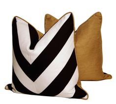 B&W Chevron Pillows with Gold Silk Backing by CCDeuxVie on Etsy