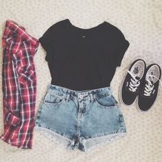black tee shirt + red & black plaid flannel + denim shorts + black vans