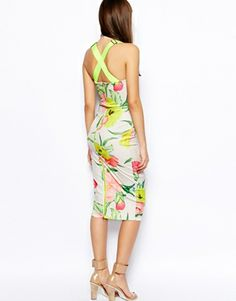 Image 2 ofTed Baker Taylar Midi Dress in Floral Print with Fluro Straps