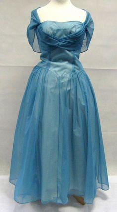 1950s Powder Blue Caped Chiffon Prom Dress | Vintage Prom Dresses | 1950s Dress | 1950s Dresses | Vintage Dresses For Prom | 1950s Prom Dress