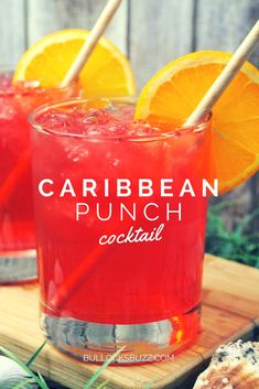 Transport yourself to a sunny and relaxing destination with this tropical fruit and coconut rum Caribbean Punch cocktail. #recipes #cocktails #cocktailrecipe #drinks