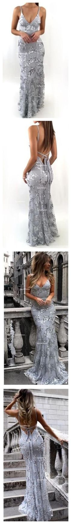 Sexy Backless Gray Sequin Lace Mermaid Long Evening Prom Dresses, Popular Cheap Long 2018 Party Prom Dresses, 17264