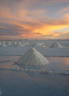 Salar de Uyuni, Bolivia is the world's largest salt flat.