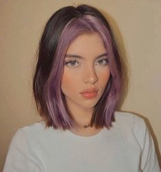 Purple Hair Streaks, Blonde Hair With Highlights, Colored Streaks In Hair, Brown Hair With Purple, Short Purple Hair, Hair Dye Colors, Cool Hair Color, Two Color Hair, Girl Hair Colors