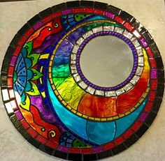 mosaic mirror with hand painted and stained glass. Mirror Mosaic, Mosaic Wall, Mosaic Glass, Mosaic Tiles, Mosaic Patterns, Stained Glass Patterns, Mosaic Designs, Mirror Painting, Mirror Art
