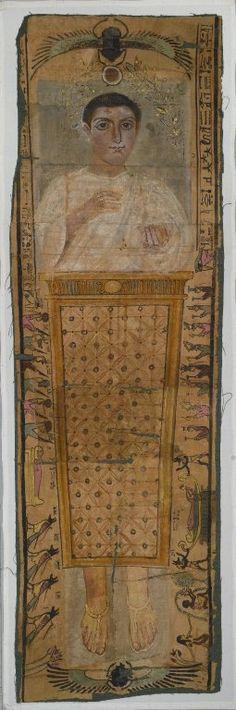 Neferhotep's shroud bears a Roman-style portrait.   Deir el Medina,  Egypt