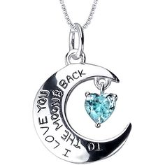 I Love You to the Moon and Back Blue Cubic Zirconia Pendant Necklace ($167) ❤ liked on Polyvore featuring jewelry, necklaces, long blue necklace, heart pendant, blue heart pendant, long pendant necklace and cz pendant necklace