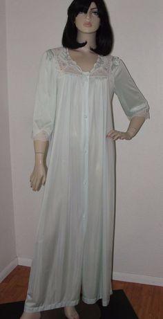 Vtg LORRAINE Green Antron III Nylon ButtonFront Dressing Gown Robe/Lace Detail M #Lorraine
