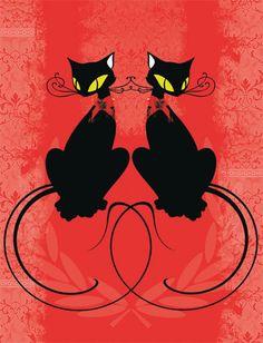 Os misteriosos felinos parecem hipnotizar na ilustração Cats do artista plástico Ronaldo Inc.