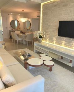 Cool Small Apartment Decorating Ideas For Inspiration ~ Beautiful House Living Room Tv, Apartment Living, Home And Living, Bedroom Apartment, Dining Room, Small Apartment Decorating, Small Apartments, Living Room Designs, House Design