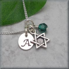 Jewish Star Necklace Star of David Jewelry Initial Charm Personalized Sterling Silver on Etsy, $28.00