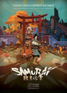 Cover by Jakub Rebelka for the beat'em up Samurai Riot | Wako Factory