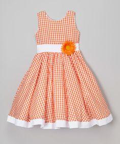 Orange & White Gingham Daisy Dress - Infant, Toddler & Girls