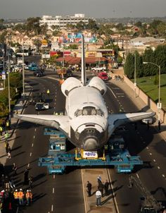 Space Shuttle Endeavour Travels Through the Streets of Los Angeles to its New Home. I liked it better in its old home, where we watched it pointed up... and launching ~mermaid