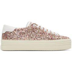 Saint Laurent Multicolor Glitter Platform Court Classic Sneakers (1.845 BRL) ❤ liked on Polyvore featuring shoes, sneakers, multicolor, platform sneakers, lacing sneakers, low top, multi color shoes and lace up shoes