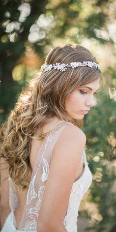 Beautiful! Bel Aore Bridal accessories 6742 metallic bloom halo headpiece worn with romantic wedding dress.