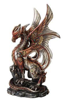 Steampunk Dragon Collectible Fierce Mechanical Dragon Statue Gear