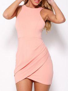 Vestido sin manga entallado -rosa