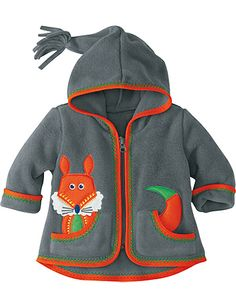 Adorable fox applique and I love the hat tassle. Best Ever Baby Jacket from #HannaAndersson.