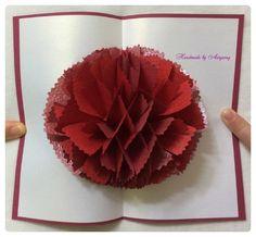 펄 구김지로 만든 종이꽃 카네이션 카드 에요. (조화공예 한지꽃 아트플라워) : 네이버 블로그