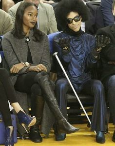 Prince and Damaris Lewis at The Warriors Game - Oracle Arena, March 3, 2016