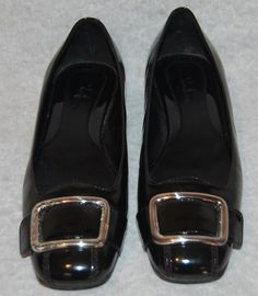 Cole Haan Nike Air 7.5 B 7 1/2 Black Patent Leather Buckle Shoes Loafer Flats #ColeHaan #Oxfords #Casual