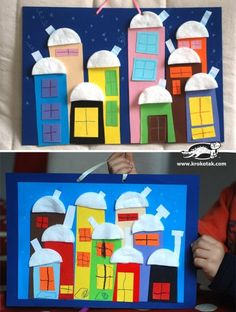Snow town with cotton pads Christmas Activities, Winter Activities, Activities For Kids, Winter Art, Winter Theme, Winter Crafts For Kids, Diy For Kids, Kindergarten Art Lessons, Puppets For Kids
