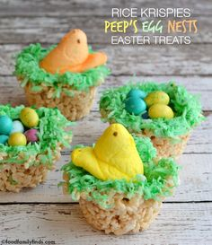 #EasytoMake Rice Krispies PEEPS Egg Nests Easter Treats #Peepsonality