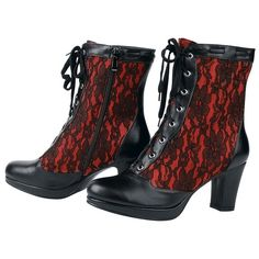 Gothic Shoes | red lace gothic shoes boots