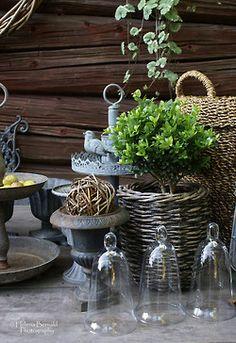 Tiny cloches and primitive decor.Great arrangement!