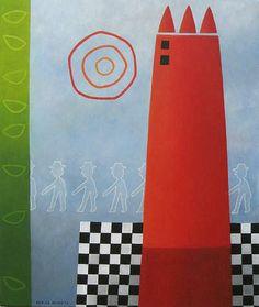 Red tower - acryl on canvas - 50x60 cm - Marike Meurs