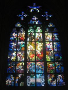 This art nouveau stained glass window (by Alphonse Mucha, I have since found out) was wonderful to look at - I hope this pic does it justice. The window is from 1931 and is in St Vitus Cathedral in Prague, Czech Republic. Stained Glass Church, Stained Glass Art, Stained Glass Windows, Mosaic Glass, Mucha Art Nouveau, Alphonse Mucha Art, Verre Design, Glass Design, L'art Du Vitrail