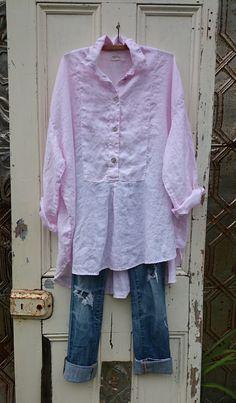 Soft Pink Linen Tuxedo Shirt MegbyDesign