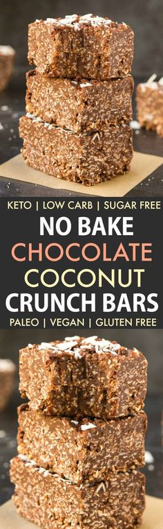 Homemade No Bake Keto Chocolate Coconut Crunch Bars (Paleo Vegan Sugar Free Low Carb)- An easy recipe for copycat crunch bars loaded with coconut and chocolate-a ketogenic and sugar free makeover! The ultimate keto-friendly dessert and snack recipe rea Ketogenic Desserts, Keto Friendly Desserts, Low Carb Desserts, Healthy Desserts, Low Carb Recipes, Snack Recipes, Dessert Recipes, Vegan Sugar, Paleo Vegan