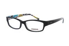 FOSSIL Billings OF 2099 001 Brille in schwarz | Mit dieser Brille von Fossil ist Ihnen jede Aufmerksamkeit sicher. Die Brille aus transparentem Kunststoff ist nur von aussen schlicht und elegant. Die Brillenbügel jedoch sind ein absoluter Blickfang. In mehrfarbigen Blautönen und...