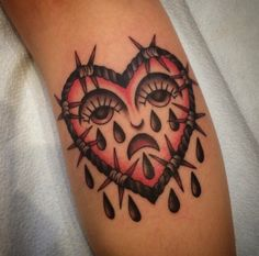 Barbed Wire Crying Heart tattoo by Siobhan Creedon Traditional Tattoo Jesus, Traditional Heart Tattoos, Barbed Wire Tattoos, Dice Tattoo, King Tattoos, Sad Heart, Body Mods, Body Piercing, Tattoo Inspiration