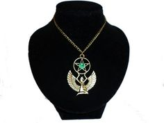 Bronze Winged Isis Necklace Green Gem Pentagram Pentacle Egyptian Goddess Pagan Wicca http://nathairastreasures.storenvy.com/products/8465556
