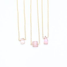 """KUNZITE NECKLACE by JULIA SZENDREI. Natural beautiful Kunzite runs pink with purple undertones. Sweet and unique this rare gemstone is a true gift from the earth. 14k gold filled limited edition necklace. 16-18"""" adjustable with clasp. Shop Now www.juliaszendrei.com"""