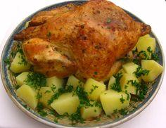 Pui la cuptor cu garnitura de cartofi natur