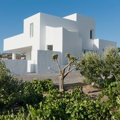 Sitting on a sloping plot outside the village, this house formed of stacked white cubes has views of the sea and a garden where the occupants to grow their own vegetables. Underground Pool, Santorini Island, Arched Windows, Holiday Apartments, Mediterranean Style, Interior And Exterior, Building A House, Swimming Pools, Mansions