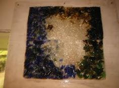 fused and slumped glass (used recycled shards of glass)