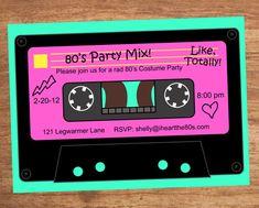 80's Party Mix Tape Custom Invitation on Etsy, $12.00