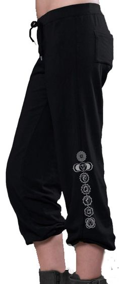 Ladies Genie Style Yoga Pants - 7 Chakras Leg Print Ladies Yoga Pants 100% Made in the USA These cool ladies yoga pants are composed of Eco-Hybrid™