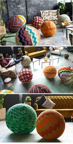 Crochet on yoga ball