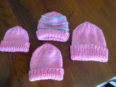 8 PLY I had trouble finding beanies the sizes the hospital needed. Some premie patterns actually fitted up . Baby Hat Knitting Patterns Free, Hat Patterns To Sew, Baby Hats Knitting, Free Knitting, Baby Patterns, Kids Knitting, Mittens Pattern, Knitting Projects, Crochet Baby Beanie