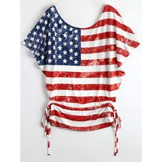 Lace Up Batwing American Flag Patriotic T Shirt (18 CAD) ❤ liked on Polyvore featuring tops, t-shirts, batwing tops, usa flag t shirt, lace-up tops, american flag t shirt and white batwing top
